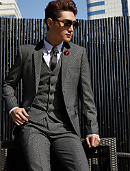 cheap -Tuxedos Tailored Fit / Standard Fit Collar / Slim Notch / Peak One-Button / Single Breasted Two-buttons Cotton / Polyester / Wool & Polyester Blend Solid Colored / Checkered / Fashion