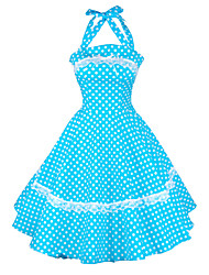 cheap -Women's Lace up Party Vintage Loose Sheath Skater Dress - Polka Dot Ruffle Pleated Halter Neck All Seasons Cotton Red Green Blue L XL XXL