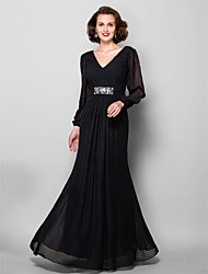 cheap -A-Line V Neck Floor Length Chiffon Mother of the Bride Dress with Criss Cross by LAN TING BRIDE®