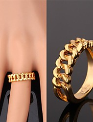 cheap -Women's Band Ring Gold Plated Yellow Gold Alloy Ladies Fashion Dubai Wedding Party Jewelry
