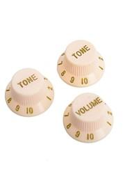 Недорогие -желтый&золотой гитара контроля скорости кнопки Ручки горшок крышка для электрической гитары 50set / Много (1 объем&2 тон комплект)