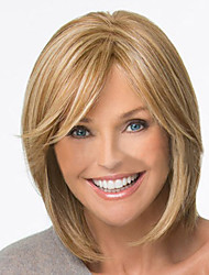 cheap -Synthetic Wig Straight Style Wig Blonde Brown Blonde Synthetic Hair 12 inch Women's Blonde Wig Short