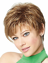 cheap -Synthetic Wig Straight Curly Straight Asymmetrical Wig Blonde Short Light Brown Synthetic Hair 4 inch Women's Natural Hairline Blonde