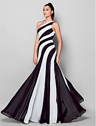 cheap -Sheath / Column One Shoulder Floor Length Chiffon Color Block Cocktail Party / Formal Evening / Holiday Dress with Side Draping 2020