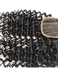 "cheap -20"" Brazilian Virgin Hair Curly Closure Pieces Lace Closure 4""x4"" Free Style 1Pc Natural Colour"