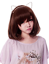 cheap -Cosplay Wigs Women's 14 inch Heat Resistant Fiber Brown Brown Anime