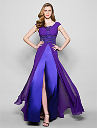 cheap -A-Line Mother of the Bride Dress Furcal Scoop Neck Sweep / Brush Train Satin Georgette Sleeveless with Crystals Beading Appliques 2021