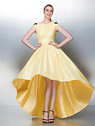 cheap -A-Line Dress Jewel Neck Short Sleeve Asymmetrical Taffeta with Appliques 2021