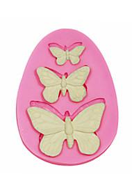 Недорогие -3 отверстия бабочка силиконовые формы для украшения торта силиконовые формы для помадные конфеты ремесла ювелирных изделий PMC смолы глины