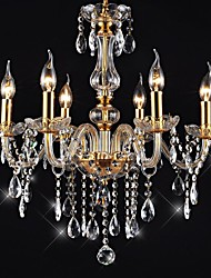 "cheap -6-Light 55(21.7"") Crystal / LED Chandelier Glass Glass Candle-style Electroplated Traditional / Classic 110-120V / 220-240V"