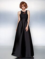 cheap -A-Line Prom Formal Evening Dress Jewel Neck Sleeveless Floor Length Satin with Sash / Ribbon Ruched Appliques 2020