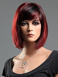 cheap -Synthetic Wig Straight Straight Wig Short Red Mixed Black Synthetic Hair 10 inch Women's Red