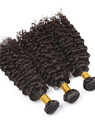 cheap -PANSY Weft Human Hair Extensions Curly Kinky Curly Human Hair Brazilian Hair 18 inch Women's Natural Black / 8A