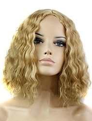 cheap -Synthetic Wig Curly Kinky Curly Kinky Curly Curly Asymmetrical Middle Part Wig Blonde Short Medium Length Blonde Synthetic Hair 12 inch Women's Natural Hairline Blonde