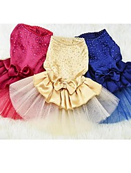 cheap -Dog Dress Dog Clothes Crystal / Rhinestone Yellow Red Blue Cotton Costume For Summer Wedding