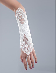 cheap -Net / Cotton Wrist Length / Opera Length Glove Charm / Stylish / Bridal Gloves With Embroidery / Solid