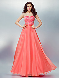 cheap -A-Line Formal Evening Dress Scoop Neck Floor Length Chiffon with Sash / Ribbon Beading Appliques 2020