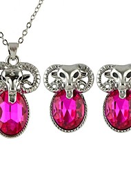 cheap -Women's Jewelry Set Ladies Gemstone Earrings Jewelry Blue / Pink / Champagne For Party Daily Casual / Necklace / Rhinestone