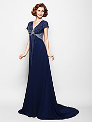 cheap -A-Line V Neck Court Train Georgette Mother of the Bride Dress with Beading / Sequin by LAN TING BRIDE®