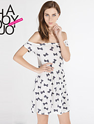 cheap -Women's Going out Dress Print Summer White