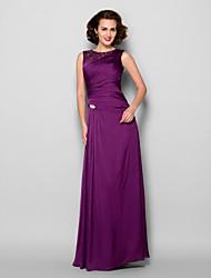 cheap -Sheath / Column Mother of the Bride Dress Elegant Jewel Neck Floor Length Satin Chiffon Sleeveless with Lace Beading Side Draping 2021