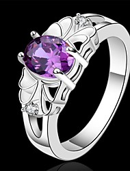 cheap -Women's Statement Ring Crystal Amethyst Purple Sterling Silver Ladies Wedding Party Jewelry Oval Cut Simulated