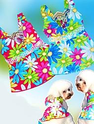 cheap -Lovely Sunflower Pattern Blue/Rose Poplin Braces Skirt for Pets Dogs (Assorted Sizes)