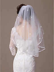 cheap -One-tier Ribbon Edge / Beaded Edge Wedding Veil Elbow Veils with Scattered Crystals Style 31.5 in (80cm) Tulle