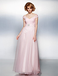 cheap -Ball Gown Open Back Prom Formal Evening Dress Off Shoulder Short Sleeve Floor Length Tulle with Sash / Ribbon Criss Cross Ruched 2021