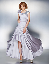 cheap -A-Line Scoop Neck Asymmetrical Satin Chiffon Short Sleeve Lace Up Mother of the Bride Dress with Sequin / Side Draping / Flower 2020