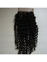 "cheap -8""Kinky Curly Brazilian Virgin Hair Hair Pieces Lace Closure 4""x4""  Free Style 1Pc Natural Colour"