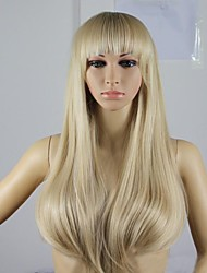 cheap -Synthetic Wig Straight Natural Wave Natural Wave Straight Asymmetrical Wig Blonde Long Light Blonde Synthetic Hair 12 inch Women's Natural Hairline Blonde