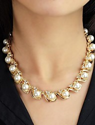 cheap -Women's Pearl Beaded Necklace Pearl Necklace Rosary Chain Ladies Fashion Pearl Alloy Necklace Jewelry For Wedding Party Daily Casual