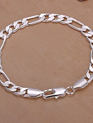 cheap -Men's Chain Bracelet Ladies Silver Plated Bracelet Jewelry Silver For Christmas Gifts Wedding Party Casual Daily