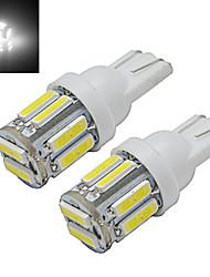 cheap -2pcs 1W T10 LED W5W Car Bulb Wedge Map Lamp Light 10 leds SMD 7020 Cold White DC 12V