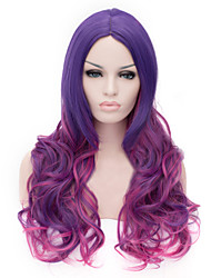 cheap -Synthetic Wig Curly Curly Asymmetrical With Bangs Wig Long Purple Synthetic Hair Women's Natural Hairline Purple