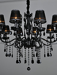 "cheap -LWD 10-Light 88(35.2"") Crystal Chandelier Metal Fabric Candle-style Painted Finishes Modern Contemporary 110-120V / 220-240V"
