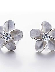 Недорогие -Жен. Серьги-гвоздики - Стерлинговое серебро, Серебристый Цветы Назначение Свадьба Для вечеринок Повседневные