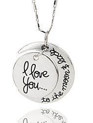 cheap -Women's Pendant Necklace Engraved Love Crescent Moon i love you to the moon and back Ladies Alloy Gold Silver Necklace Jewelry For Wedding Party Daily