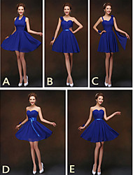 cheap -Sheath / Column Straps / One Shoulder / Halter Neck Short / Mini Chiffon Bridesmaid Dress with Sash / Ribbon