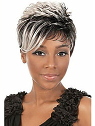 cheap -Synthetic Wig Straight Straight Layered Haircut Wig Short Black Mixed White Synthetic Hair 4 inch Women's Natural Hairline White