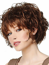 cheap -Synthetic Wig Curly Style Asymmetrical Wig Brown Synthetic Hair Women's Cosplay Brown Wig Short