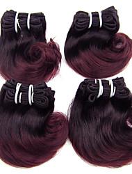 Недорогие -4 Связки Бразильские волосы Естественные кудри Натуральные волосы Омбре 8 дюймовый Омбре Ткет человеческих волос Расширения человеческих волос