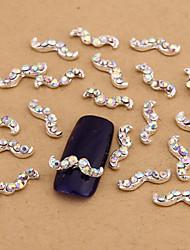 cheap -10pcs white nail art jewelry ab rhinestones beard aryclic nail tips decorations nail art stud for nails