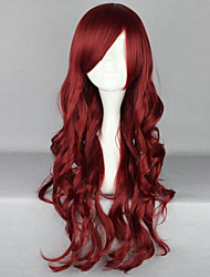 cheap -Cosplay Costume Wig Synthetic Wig Curly Deep Wave Deep Wave Asymmetrical With Bangs Wig Long Red Synthetic Hair Women's Natural Hairline Side Part Red