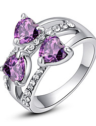 cheap -Women's Statement Ring Crystal Amethyst Purple Rainbow Transparent 18K Gold Plated Imitation Diamond Alloy Ladies Classic Fashion Wedding Party Jewelry Cluster 3 stone Past Present Future Heart Love