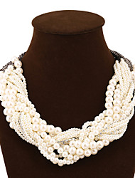 cheap -Women's Pearl Statement Necklace Layered Chinese Knot Statement European Fashion Multi Layer Imitation Pearl Alloy Screen Color Necklace Jewelry For Party / Evening