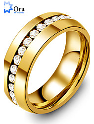 cheap -Men's Statement Ring spinning ring Groove Rings Gold Stainless Steel Gold Plated Ladies Fashion Party Jewelry