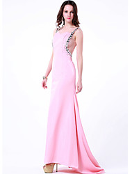 cheap -Sheath / Column Formal Evening Dress Jewel Neck Sweep / Brush Train Chiffon with Beading 2020