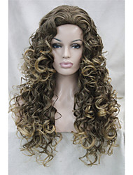 cheap -Synthetic Wig Curly Layered Haircut Synthetic Hair Waterfall Brown Wig Women's Medium Length Full Lace